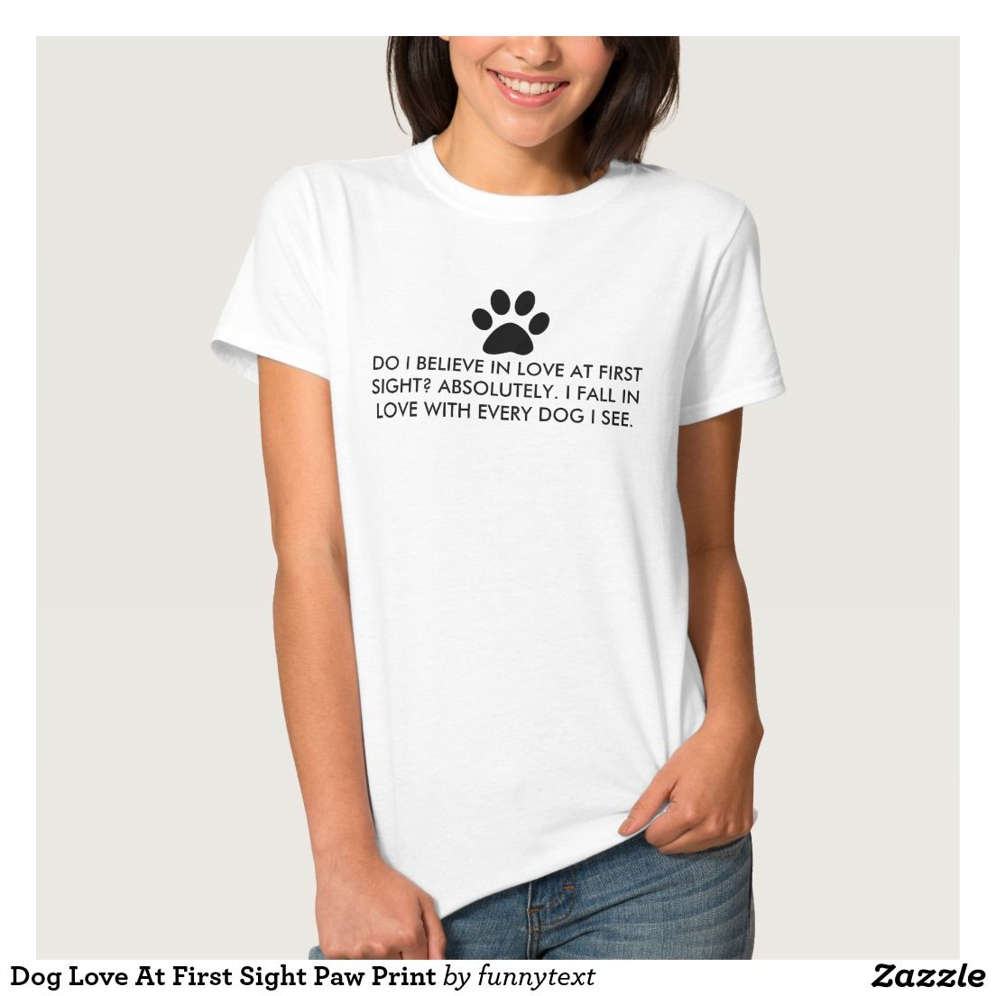 Zazzle t shirt design template - Dog Love At First Sight Paw Print T Shirt
