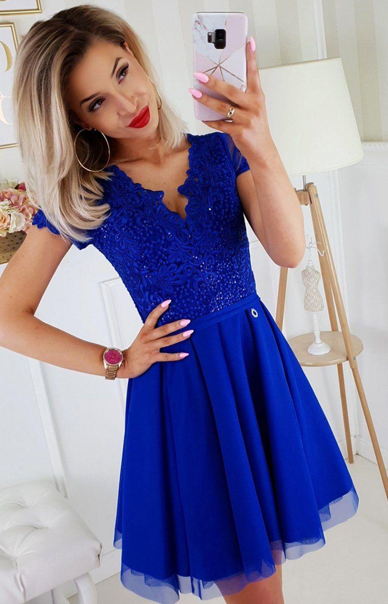 2b22c2b9 Sukienka z koronkową górą chabrowa 2180-05 w 2019 | Sukienki ...