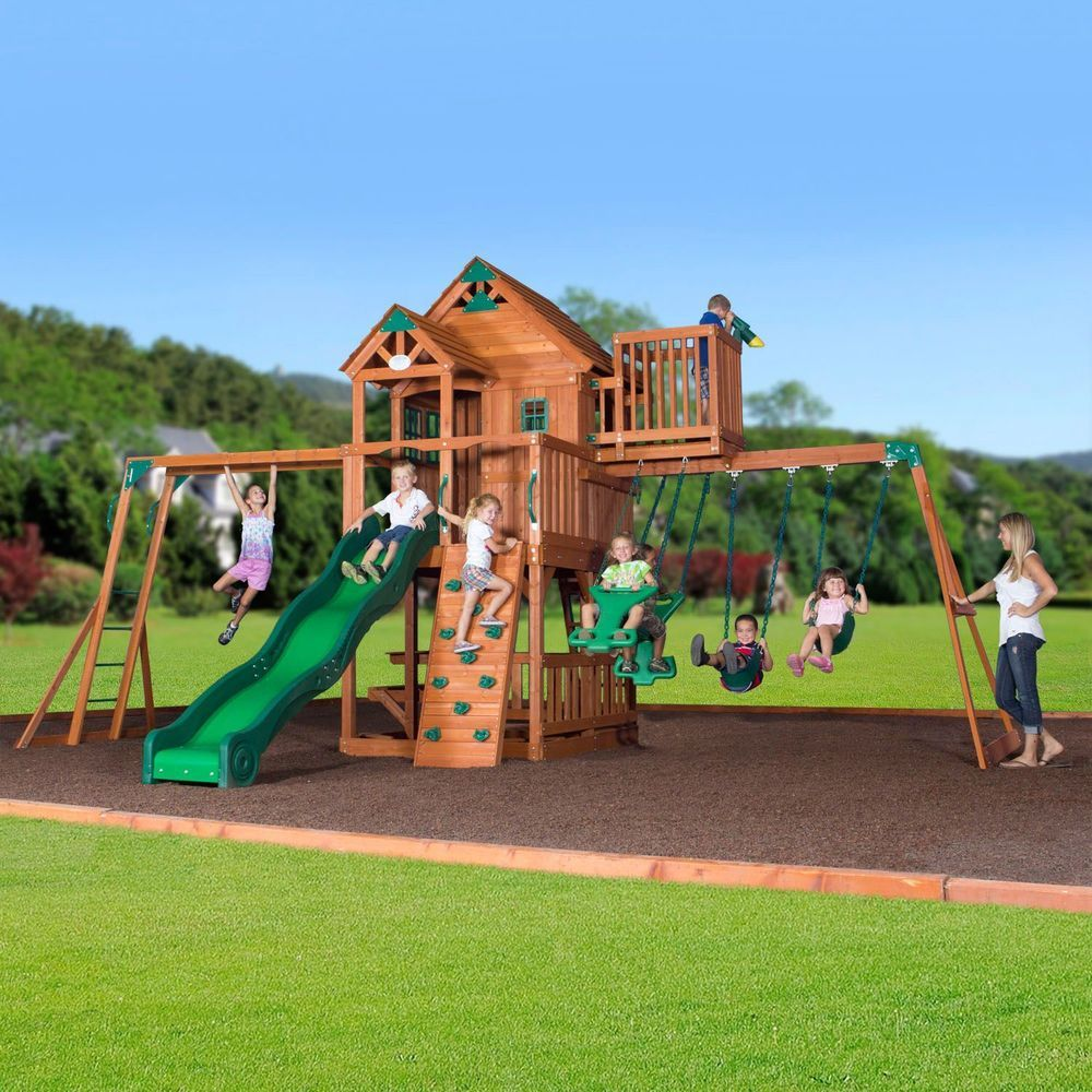 Outdoor Wooden Playhouse Swingset Slide Rockclimb Monkey Bar Play Set Childs Toy