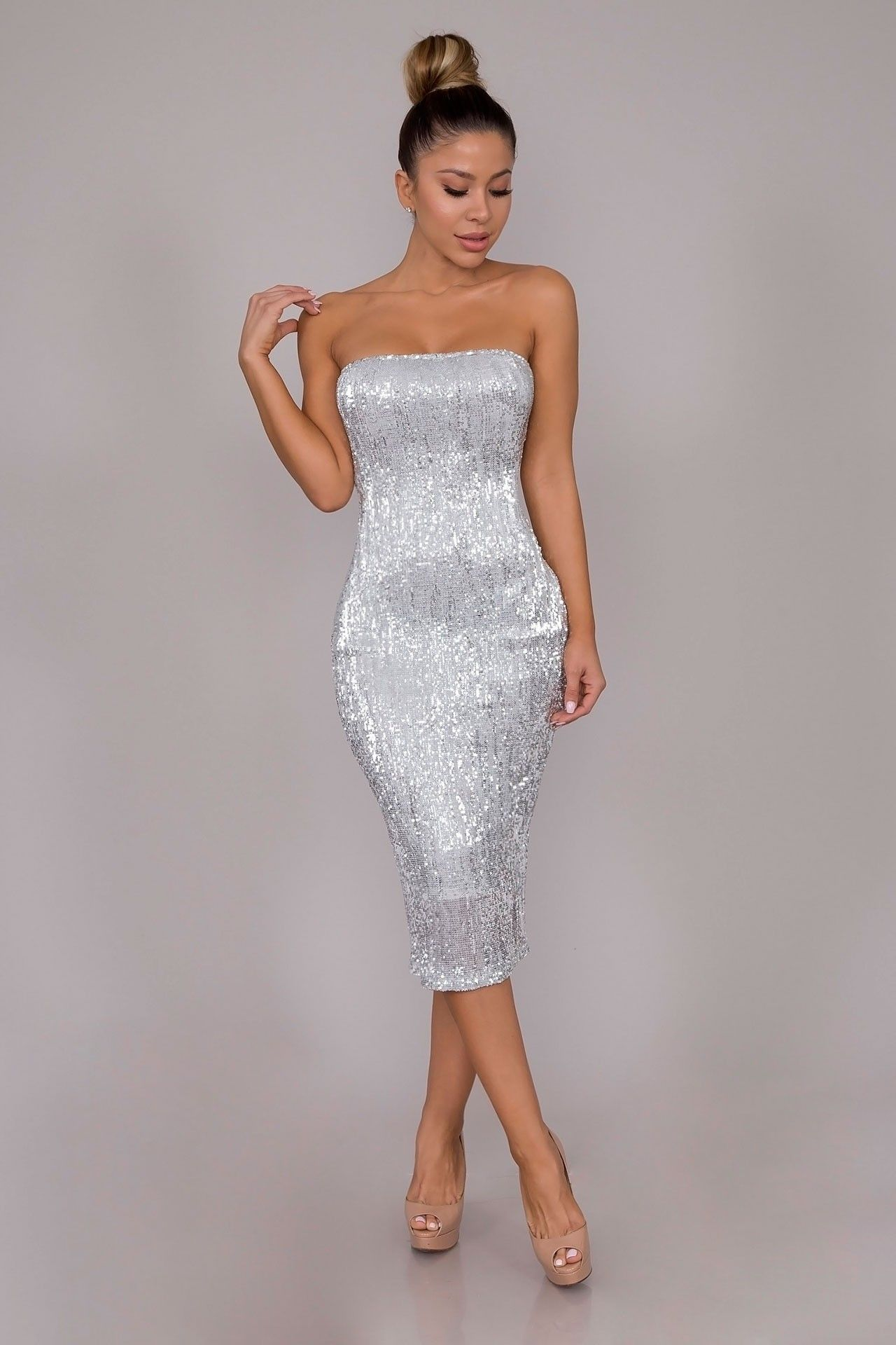 a32f835414 SEQUINED TUBE DRESS - SILVER
