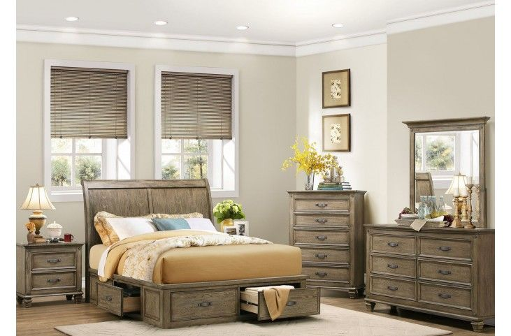 Sylvania Driftwood Platform Storage Bedroom Set Master Bedroom