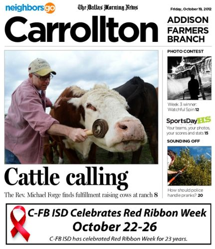 10/19 Focus on Faith: He asked for cattle as a joke. Then his congregation gave him a cow for his birthday. Now the Rev. Michael Forge of Farmers Branch Mary Immaculate Parish is a part-time rancher.