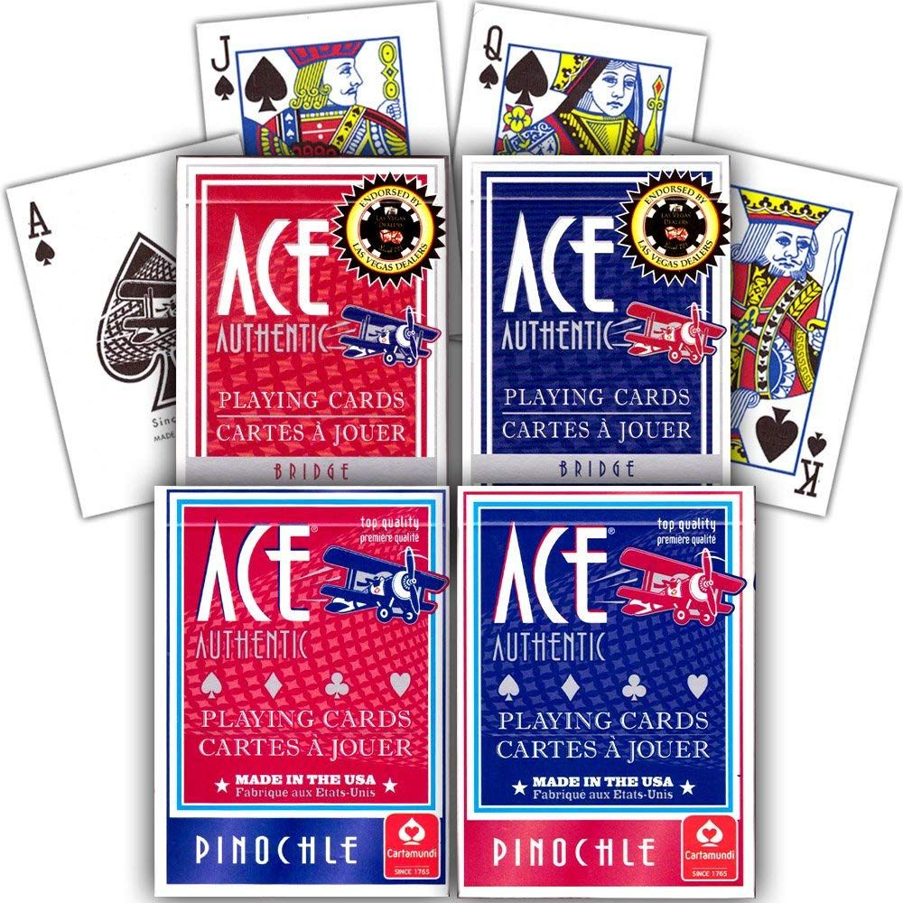 Ace Pinochle and Bridge Playing Cards Set 4 Classic