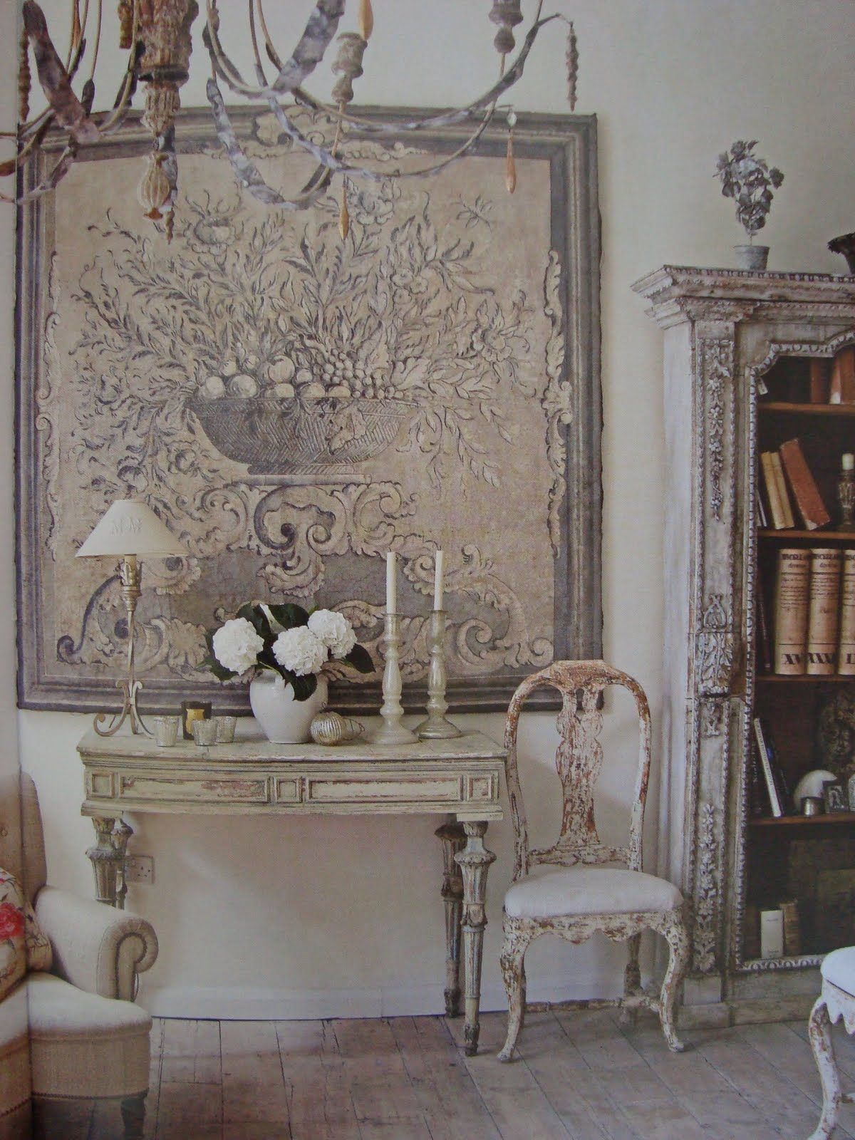 dream in cream blog french country deocor off white distressed with vintage tapestry - French Decor Blog