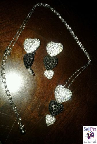 $20.75: Vintage Triple Heart Black Silver Rhinestone Demi Adjustable Necklace & Earrings