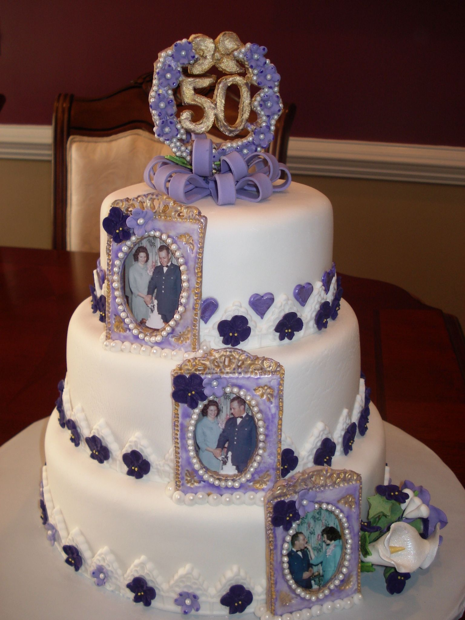 50th Anniversary Cake With Sugar Paste Picture Frames And