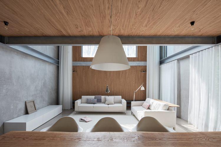 minimalistische einrichtung beton holz wohnzimmer weisse möbel
