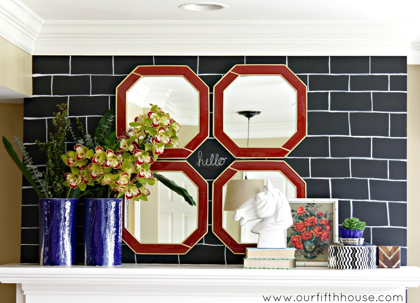 Gray bricks with write in between kitchendining pinterest