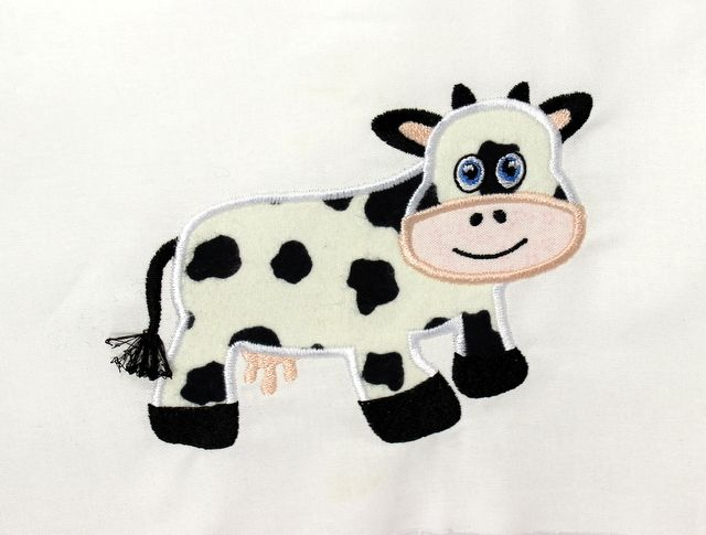This cow applique design allows you to use up those fabric scraps you have been collecting! Combine this adorable cow with our other farm related designs.
