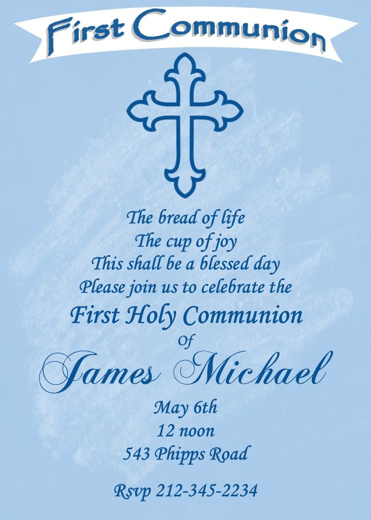 First Communion Party Invitations Blue Cross Blue chalkboard – Communion Party Invitations