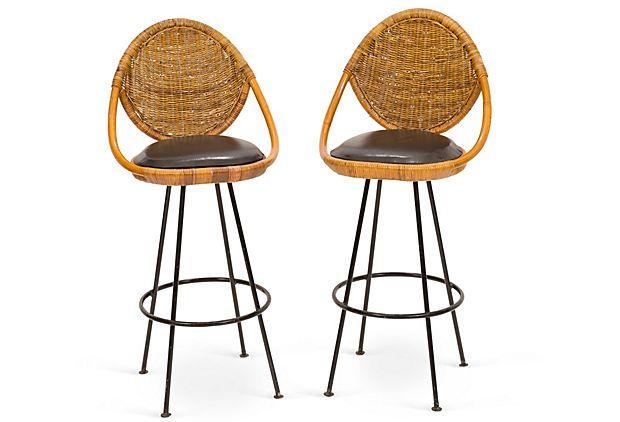1960s Danny Ho Fong Barstools Pair Bar Stools Stool Chairs