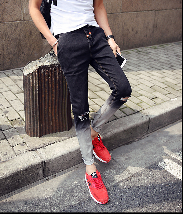 KOREAN FASHION GRADIENT COLOR DENIM JOGGER PANTS  US$67