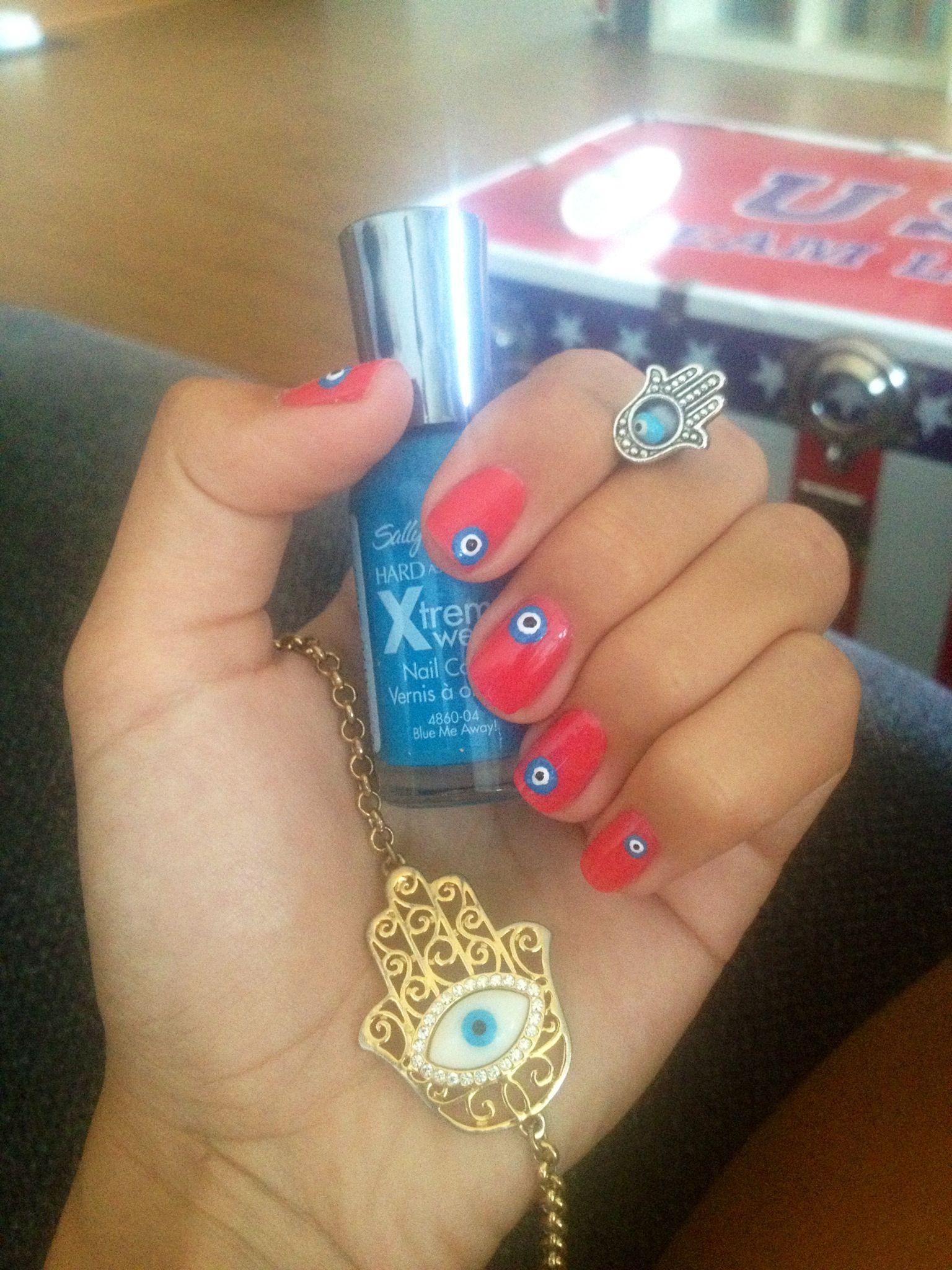 Hamsa Evil Eye Nail Art | My dream wedding | Pinterest | Evil eye ...