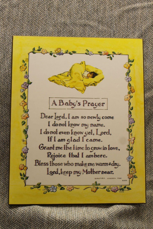 Baby's Prayer by Dorothea Warren Fox Vintage Nursery Wall Plaque. $14.00, via Etsy.