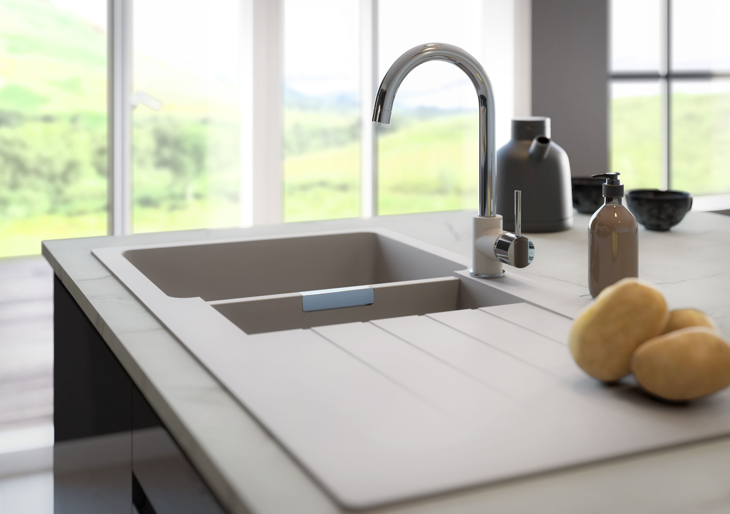 Marble worktops are a perfect way to keep the room light