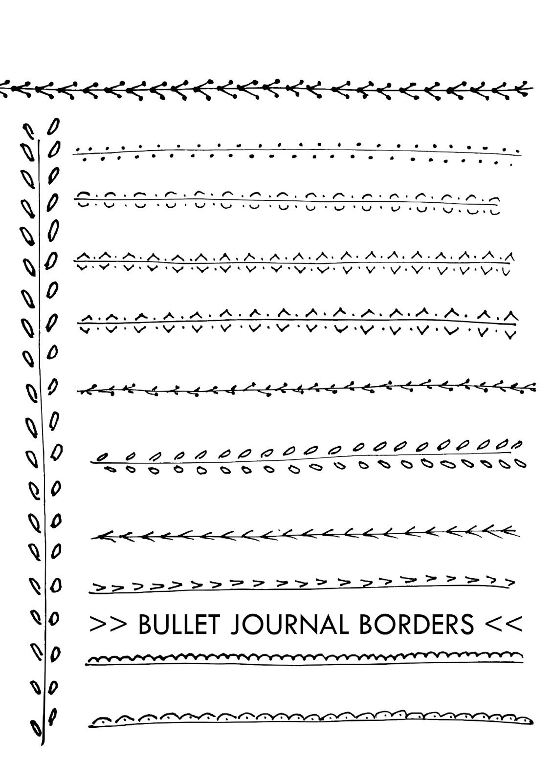 Doodle borders free printable | bullet journal templates | Drawings ...