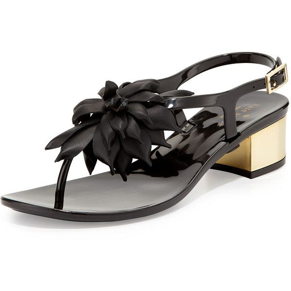 kate spade new york davina flower jelly thong sandal (190 CAD) ❤ liked on Polyvore featuring shoes, sandals, black, ankle wrap sandals, block heel sandals, mid-heel sandals, kate spade sandals and jelly sandals