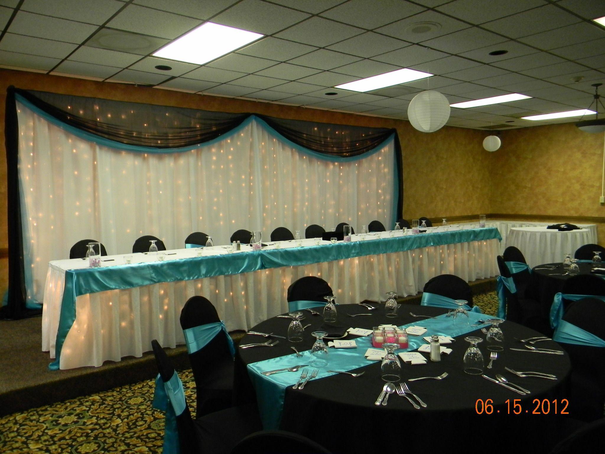 20 White drapery lights backdrop w black chiffon & turquoise
