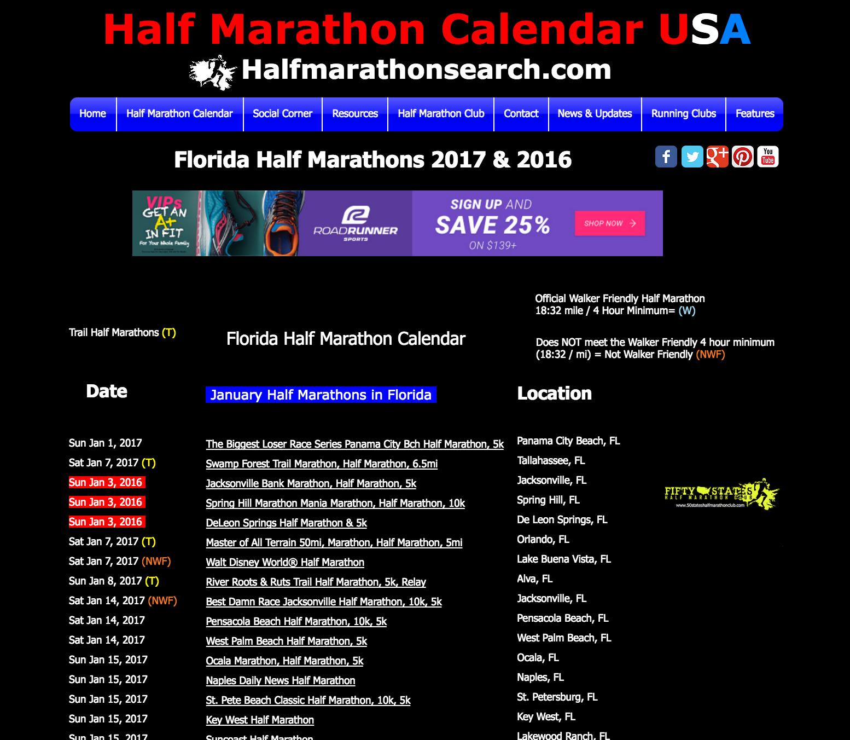 Search Florida Half Marathons   Florida half marathon calendar