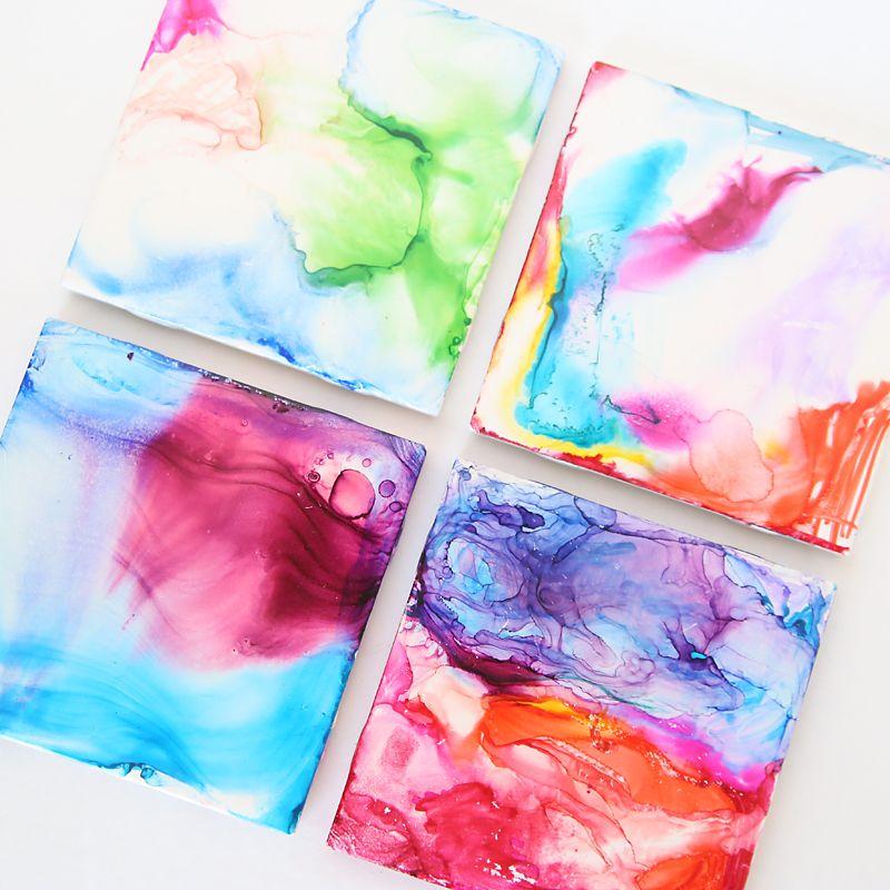 Easy Pen Alcohol Tile Art For Kids Easy Art Projects Art For