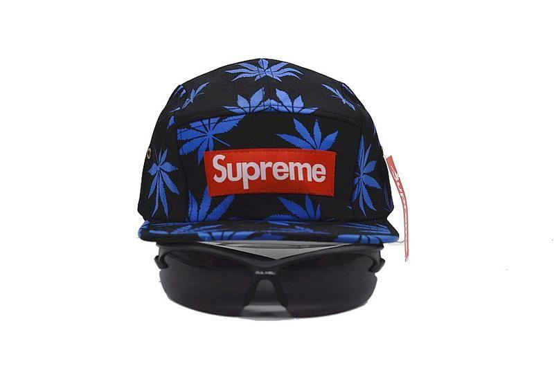 Mens   Womens Supreme Box Logo Patch 5 Panel Full Palm Trees Print Trending  Fashion Adjustable Strapback Cap - Black   Blue d86e5c53f