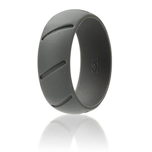 SOL Mens Silicone Wedding Band Grey Rubber Wedding Ring For Men Safe