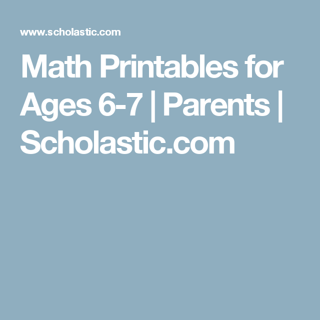 Math Printables for Ages 6-7   Maths, Parents and Activities