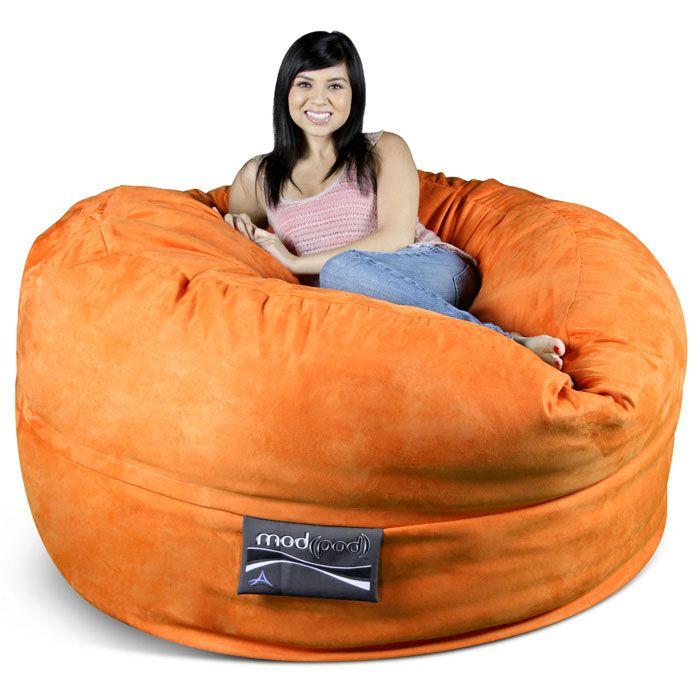 Astonishing Mod Pod 50 Inch Suede Bean Bag Pumpkin Orange In 2019 Machost Co Dining Chair Design Ideas Machostcouk