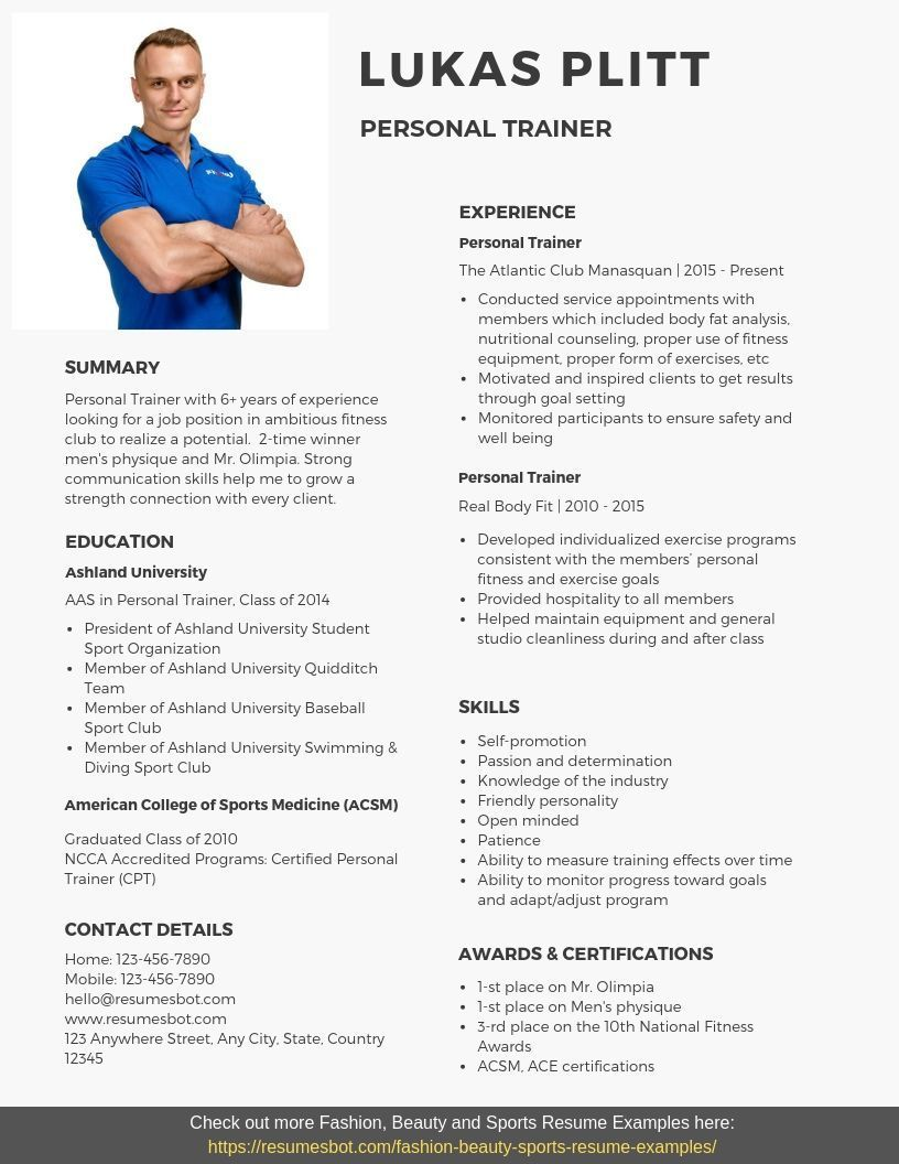 Personal Trainer Resume Samples Templates Pdfword 2020 Resume Examples Free Personal Trainer Personal Trainer