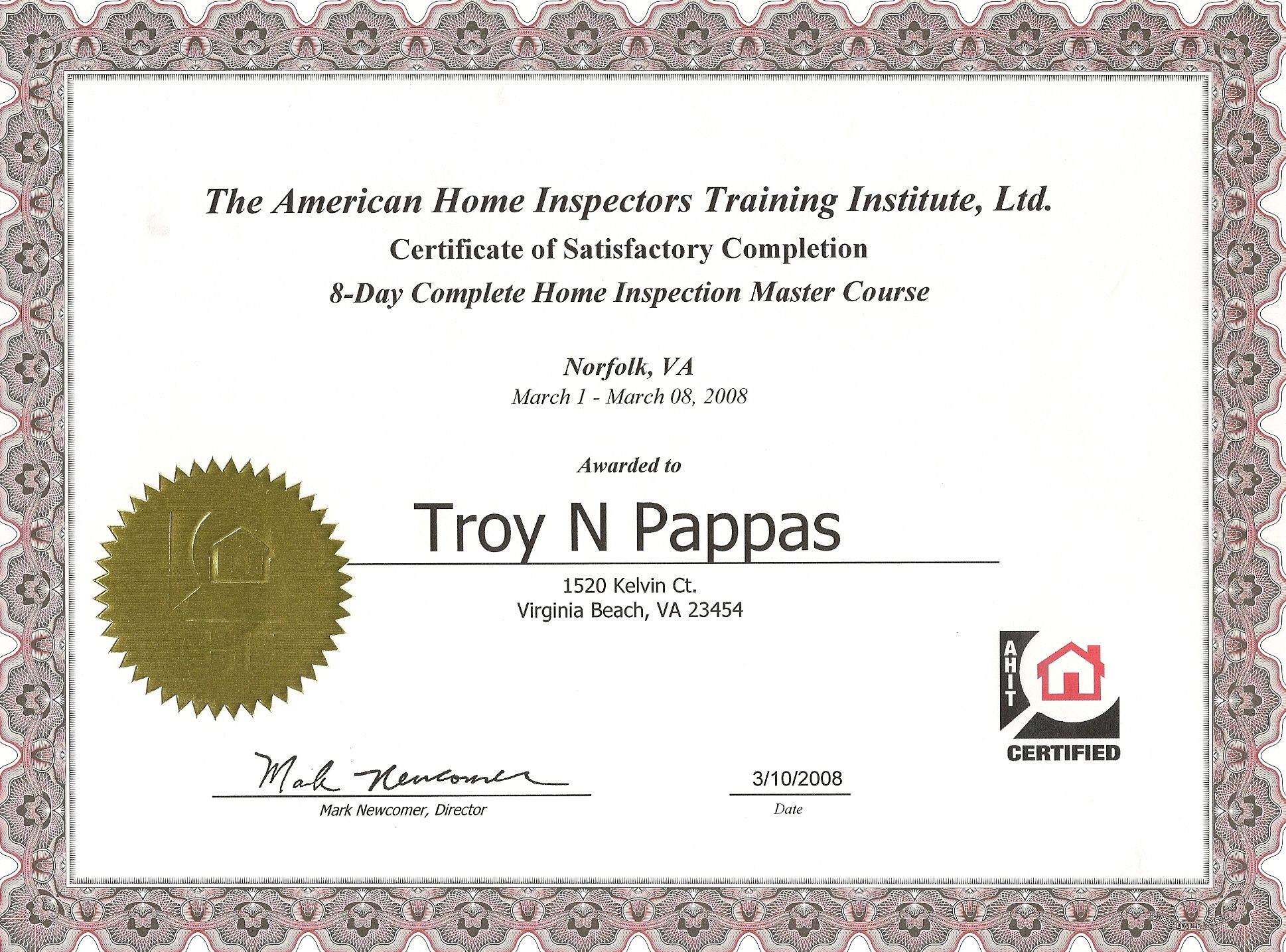 Completion Of Home Inspection Master Course Certified Master