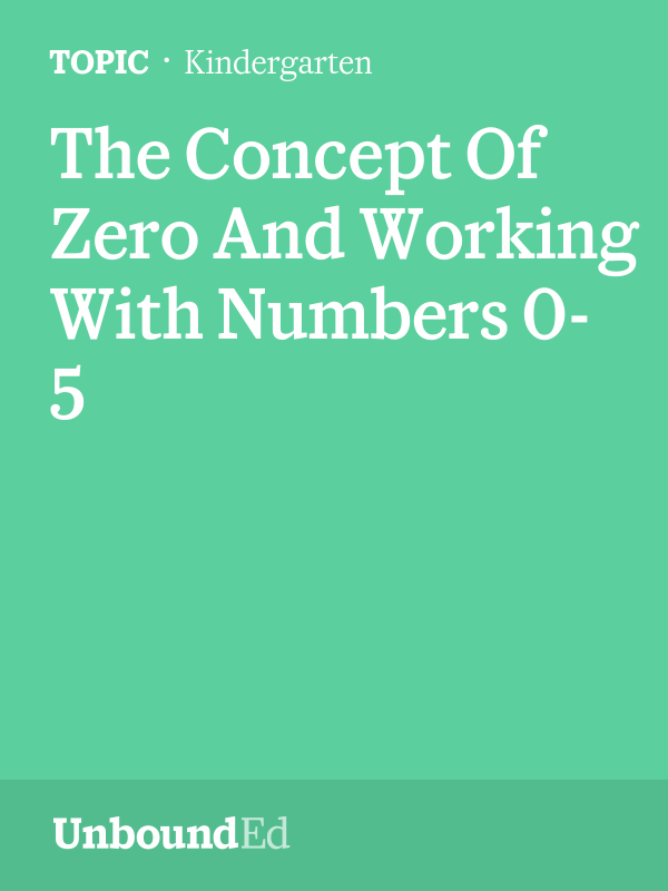 M1 Topic D) Learn about zero; write and order numerals up to 5 ...