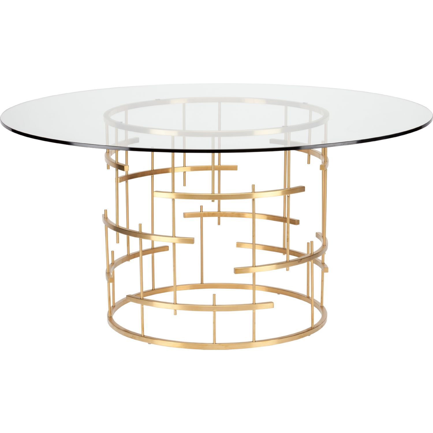 Nuevo Tiffany Round 59 Dining Table Clear Glass Brushed Gold