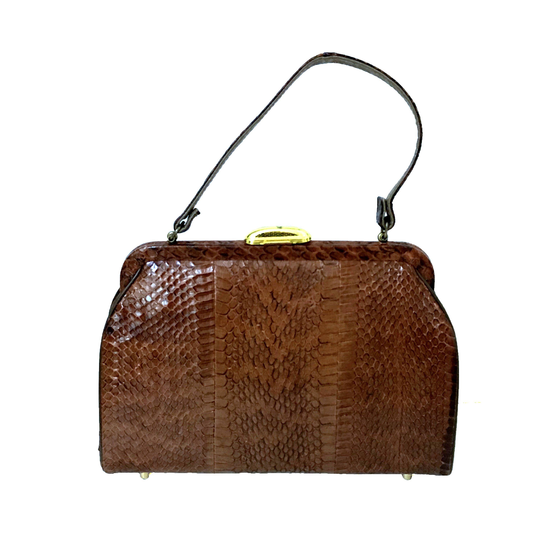 34ab6545eefa62 Vintage Handbag Vintage Reptile Skin Purse Vintage Snakeskin Purse Mid  Century Snakeskin Bag 1950's Brown Snakeskin Purse by LastTangoVintage on  Etsy