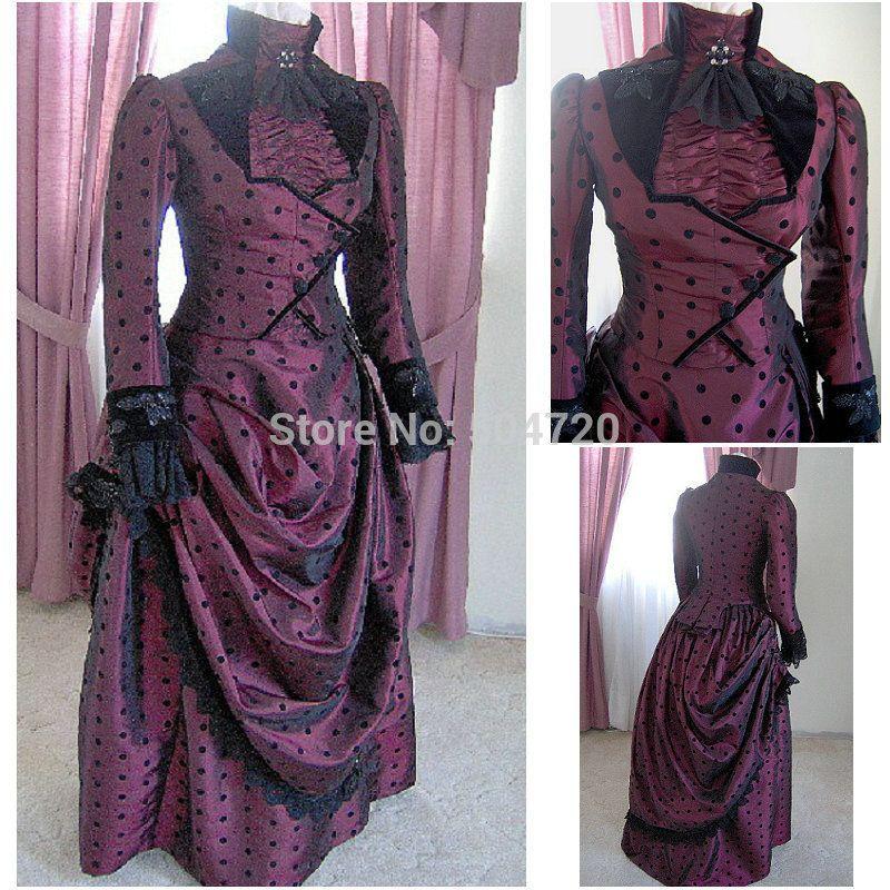 Década de 1860 traje de la vendimia gótica victoriana del siglo ...
