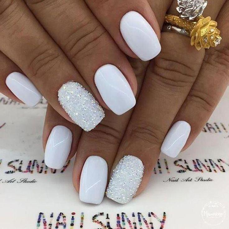 Más de 40 elegantes uñas cuadradas blancas inspiraciones artísticas – TODO – #Todo #elega …