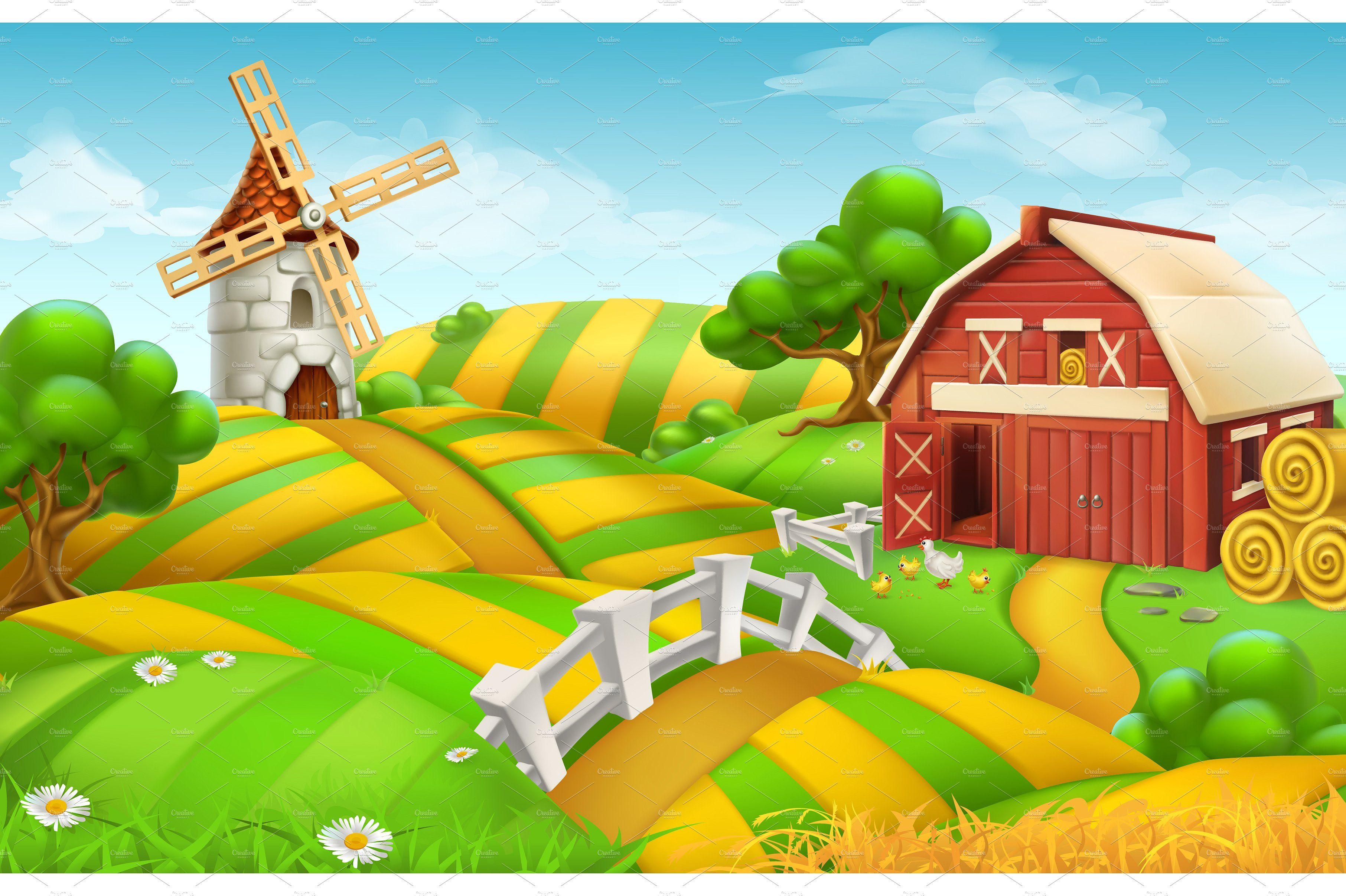 Landscape Illustration Vector Free: Farm Field Landscape, Vector By Allevinatis Studio On