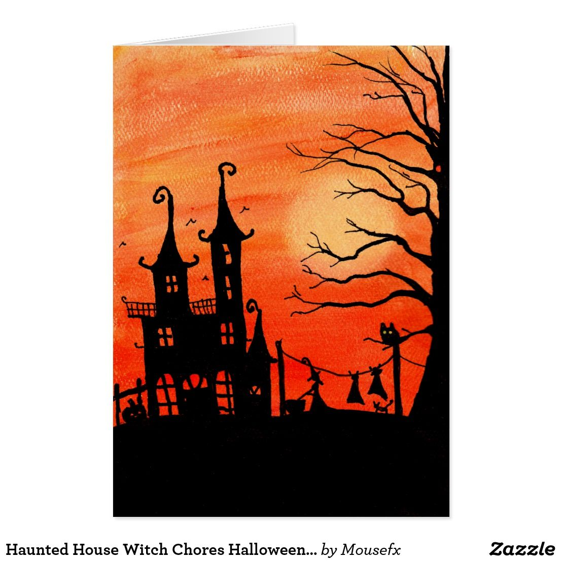 Haunted House Witch Chores Halloween Card
