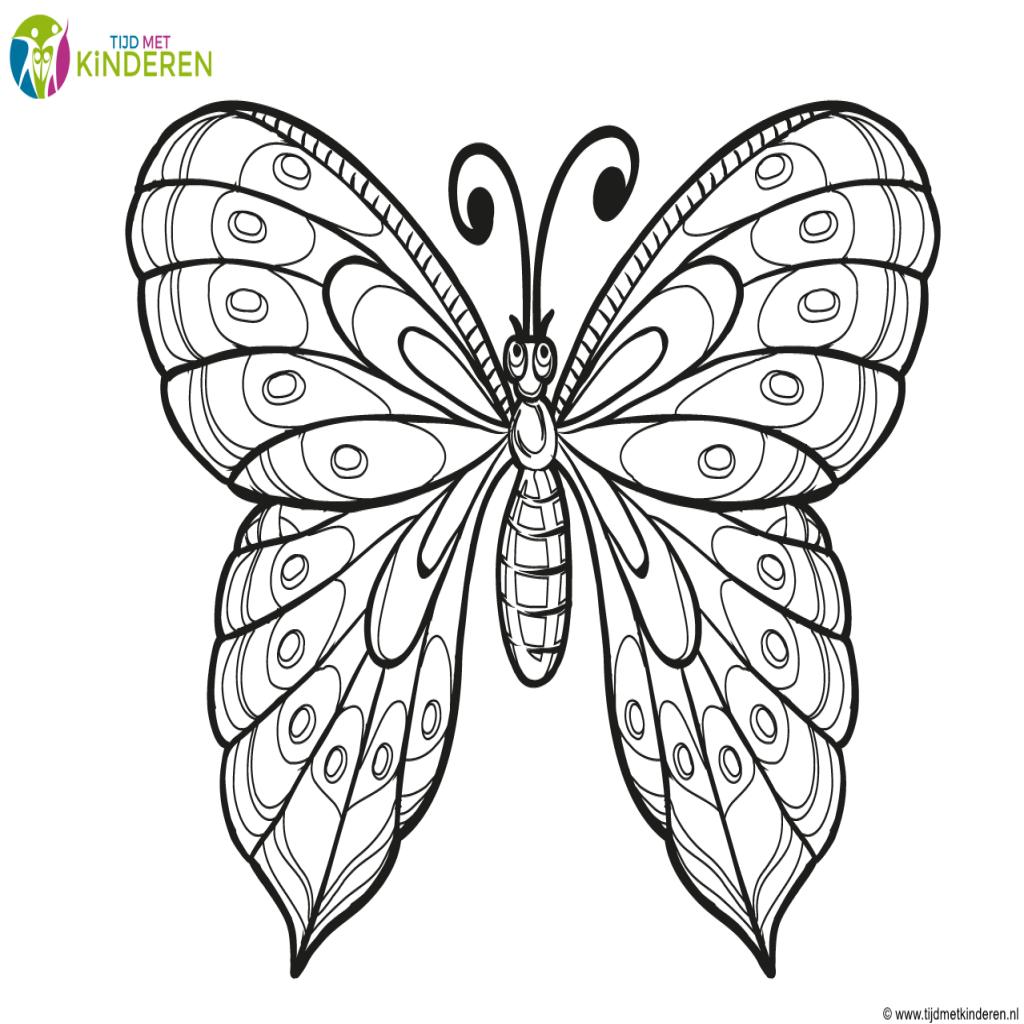 vlinders kleurplaat vlinders en bloemen met