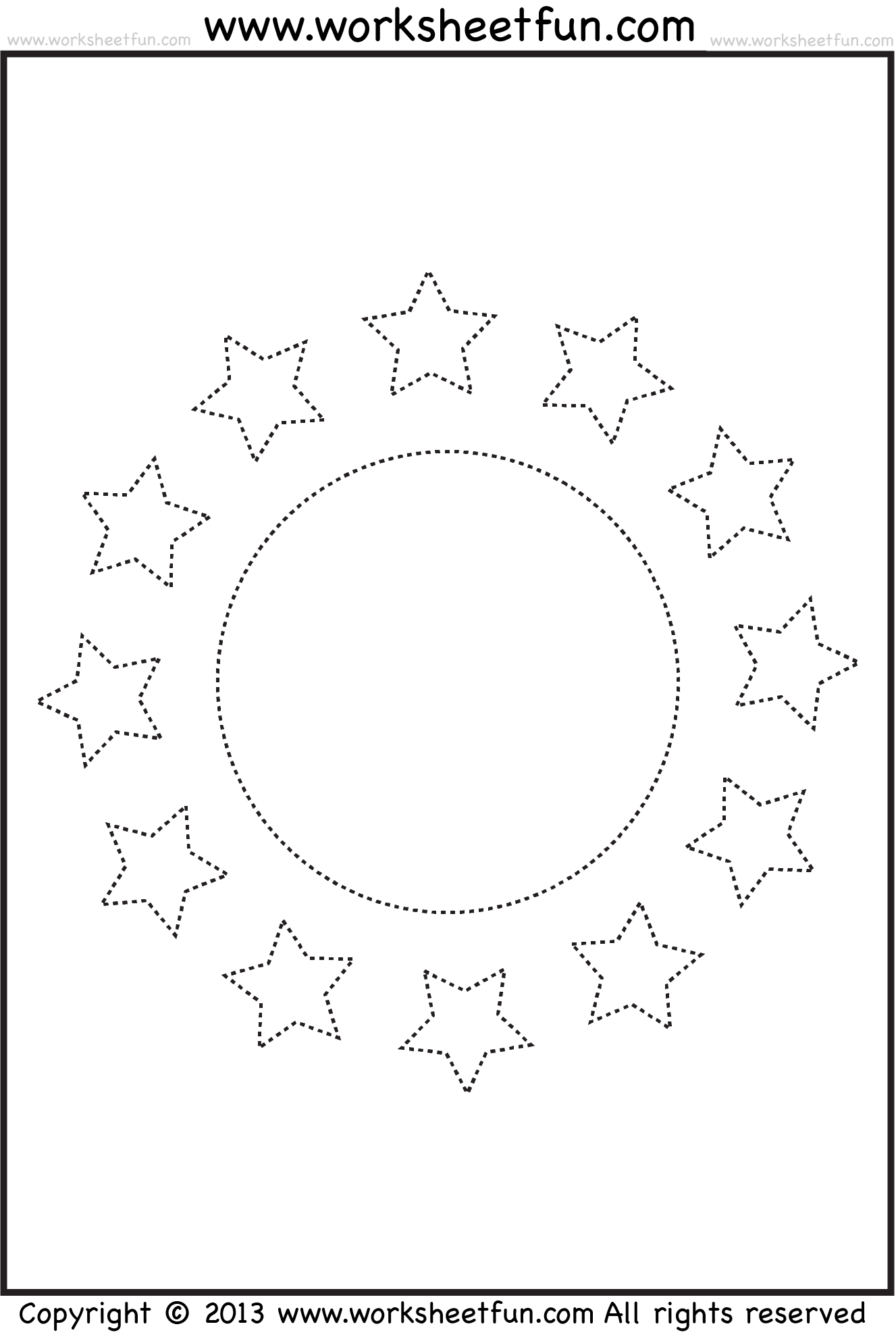 worksheet Star Worksheets For Preschoolers shape tracing pdf sun moon stars httpwww worksheetfun com preschool worksheets kindergarten worksheet circle and worksheet