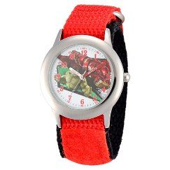 Boy's Marvel Avengers:Age of Ultron Stainless Steel Time Teacher Watch - Red