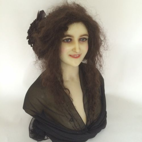 1900 Antique Wax French Mannequin Head Doll Display Bust Cire Wachs Victorian
