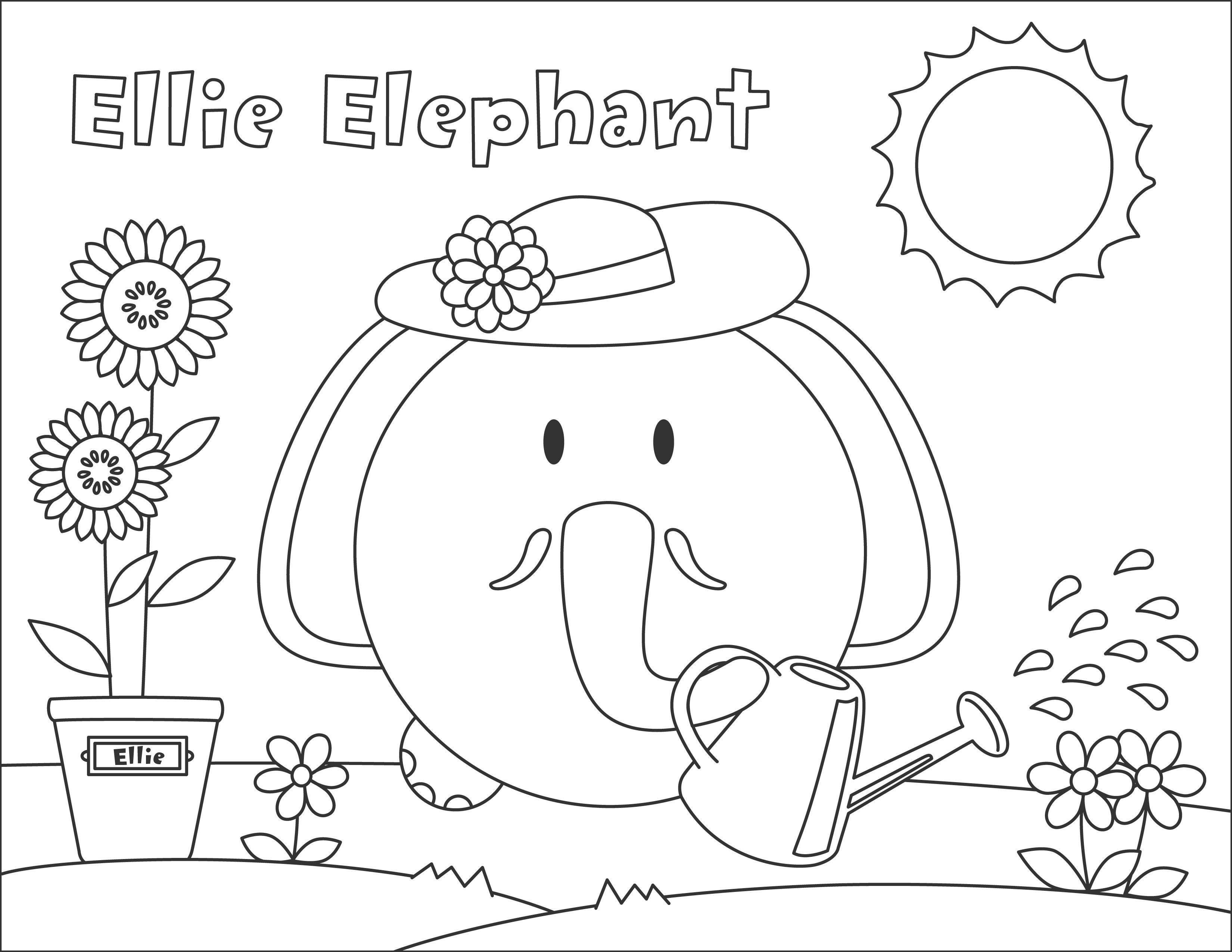 Ellie Elephant #bumpidoodle coloring page #coloringpage