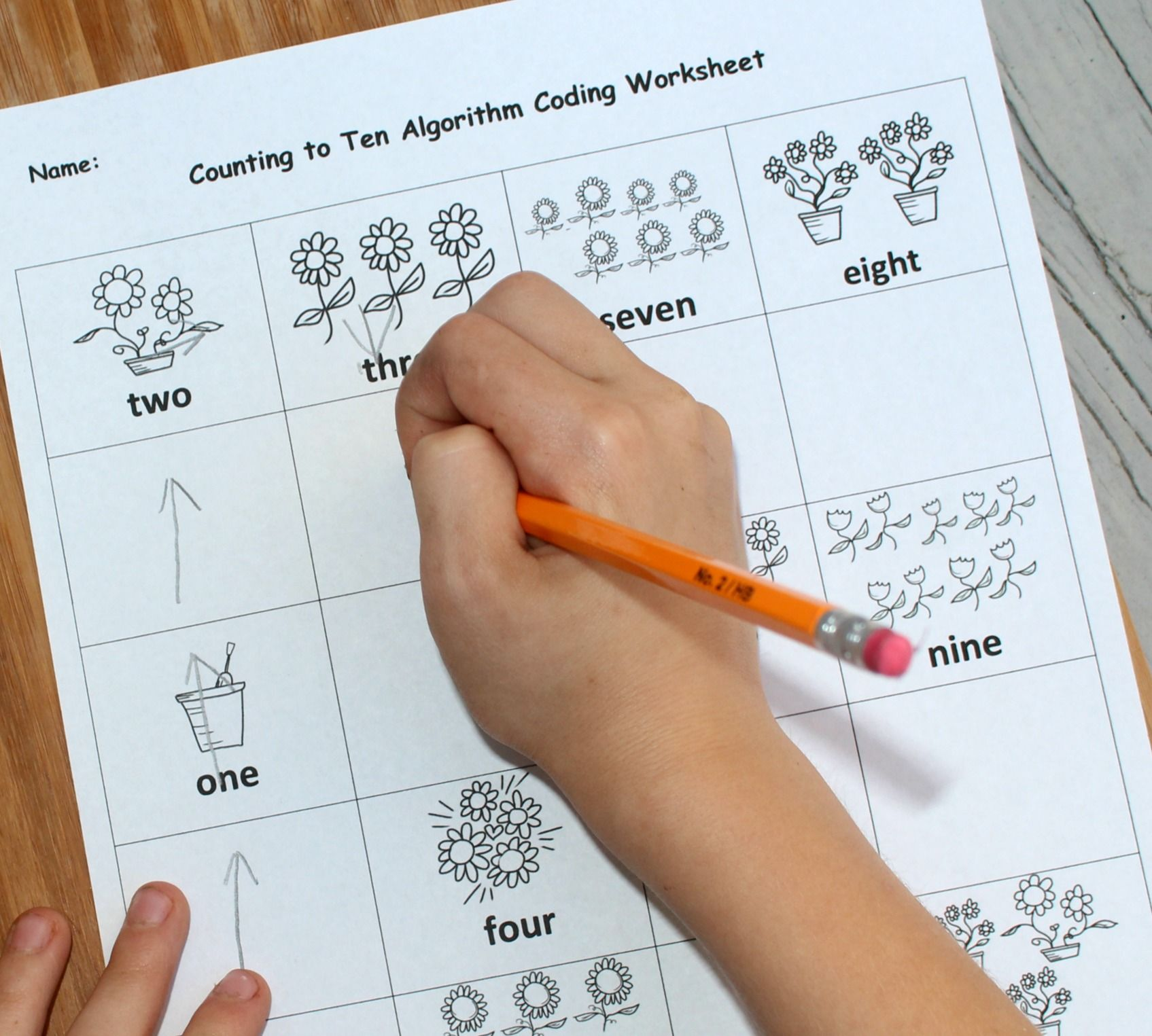 Counting To Ten Algorithm Coding Worksheet For