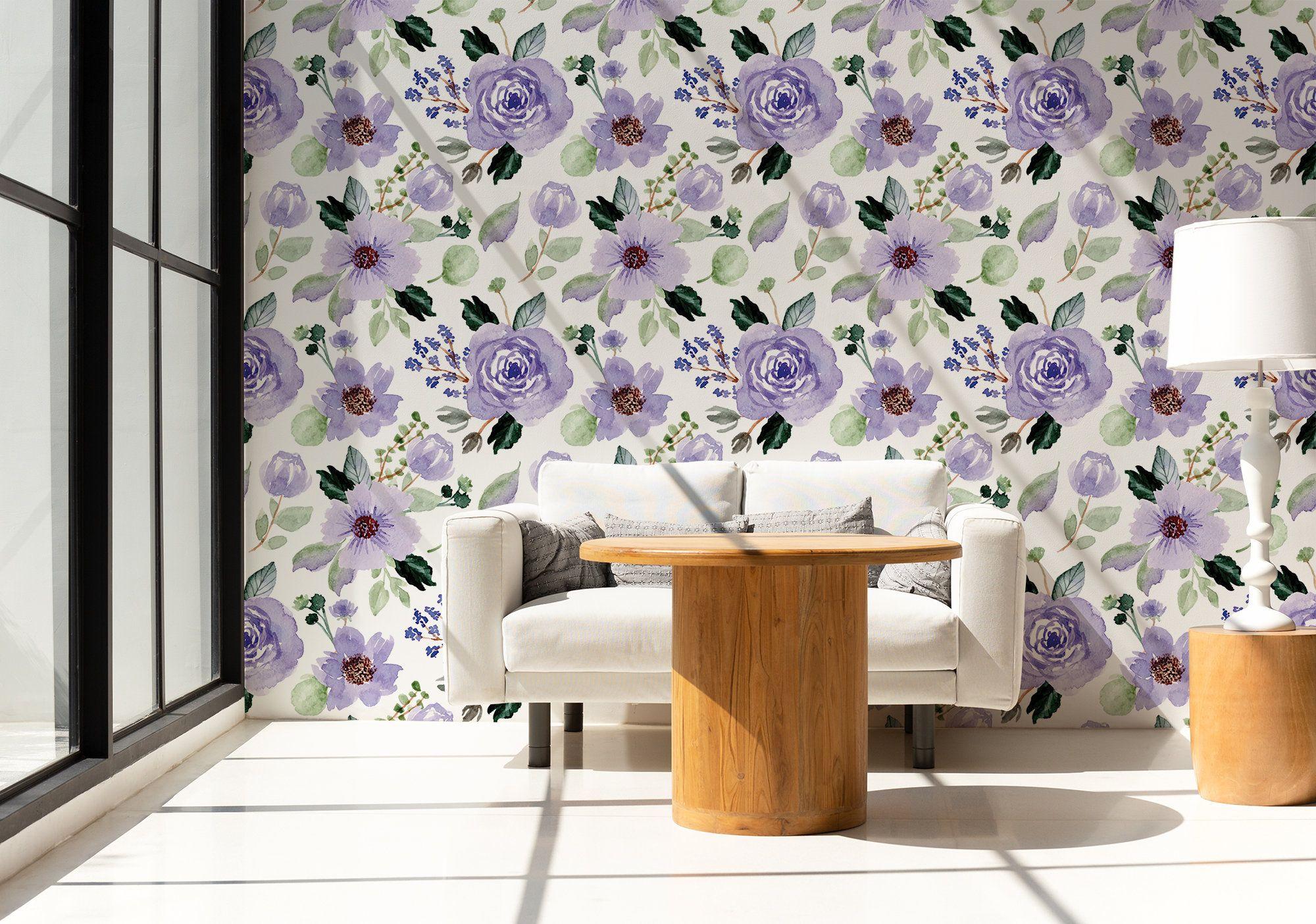 Watercolor Purple Flowers Wallpaper Self Adhesive Peel Stick Removable In 2020 Purple Flowers Wallpaper Flower Wallpaper Purple Flowers