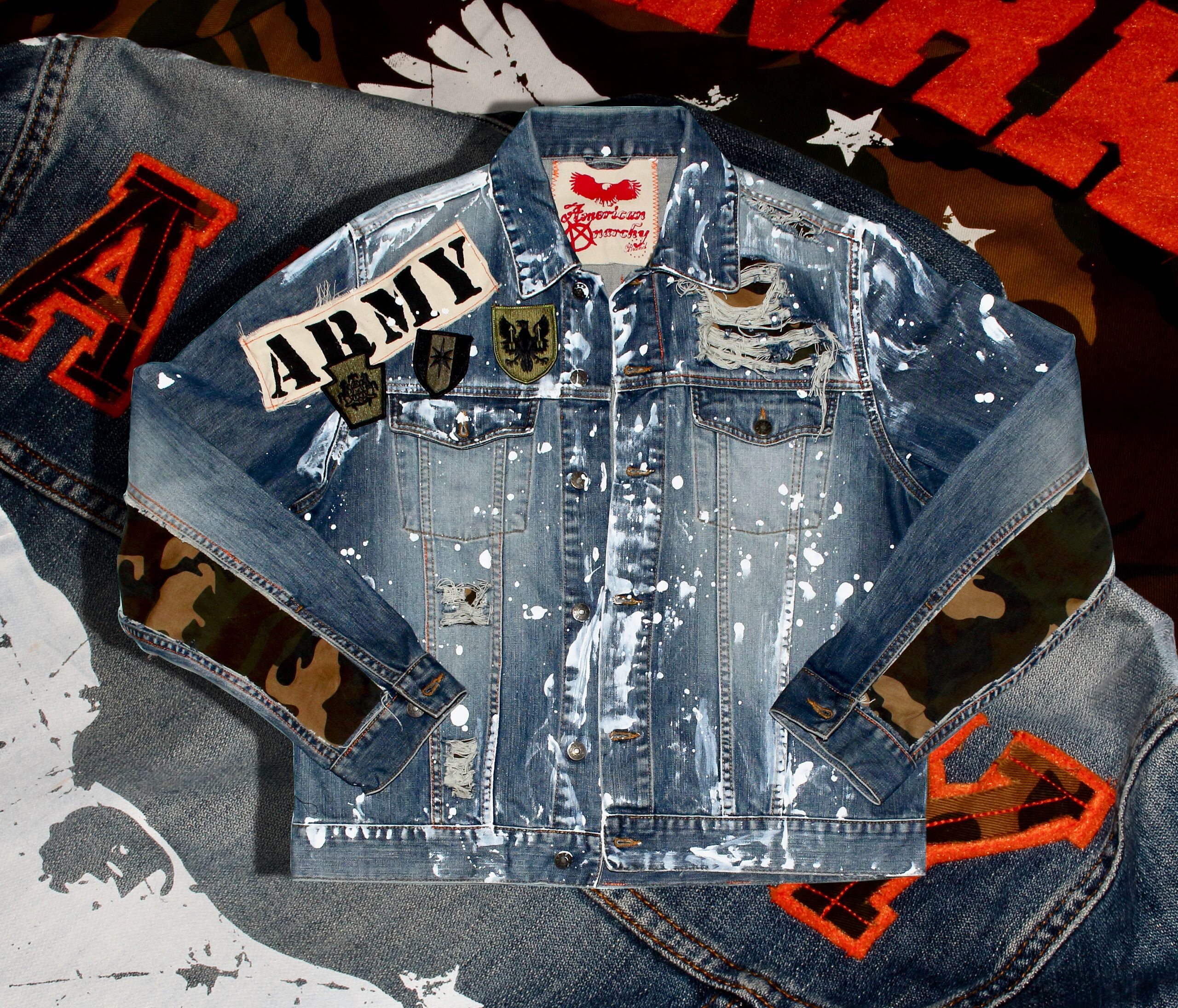 Custom Denim Jacket Distressed Paint Splatter Denim By Anrky Brand Camo Sleeve Edition Denim Jacket Distressed Denim Jacket Jackets [ 2192 x 2560 Pixel ]