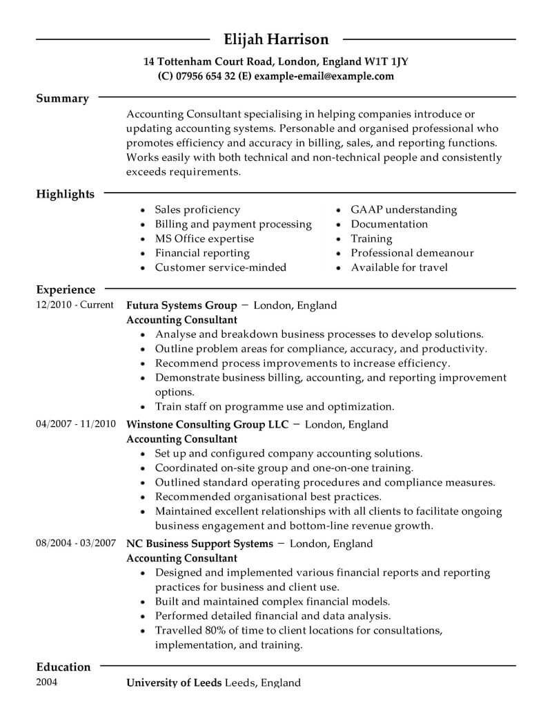 top consulting resume templates u0026 samples