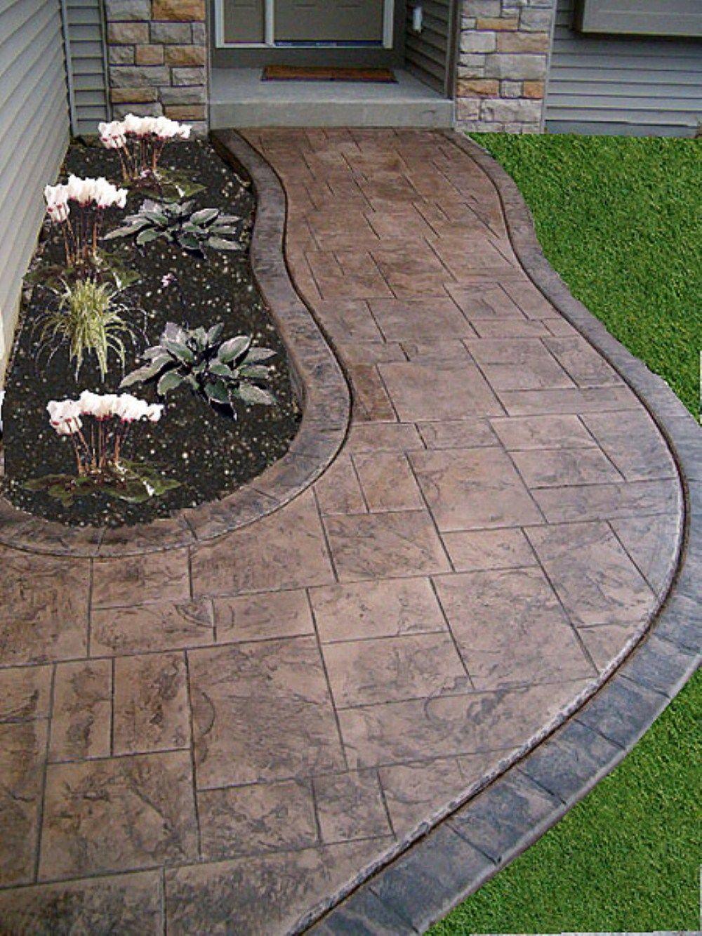 Fabulous front yard walkway landscaping ideas (58 ... on Concrete Front Yard Ideas id=66490