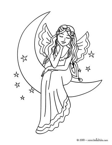 Fairy On The Moon Coloring Page Drawings Doodles Fairy
