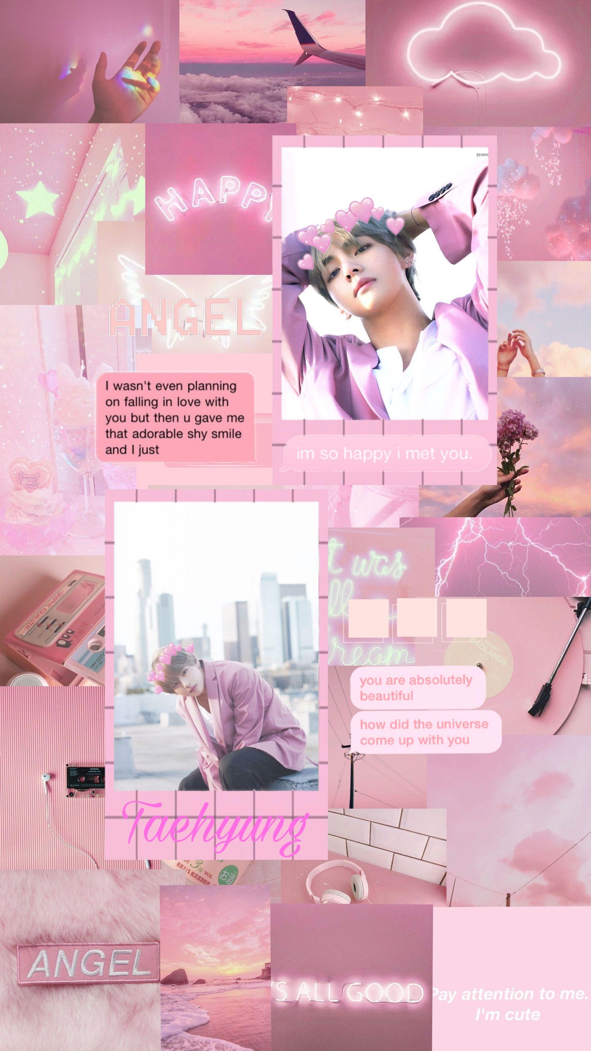 Taehyung pink aesthetic wallpaper ...