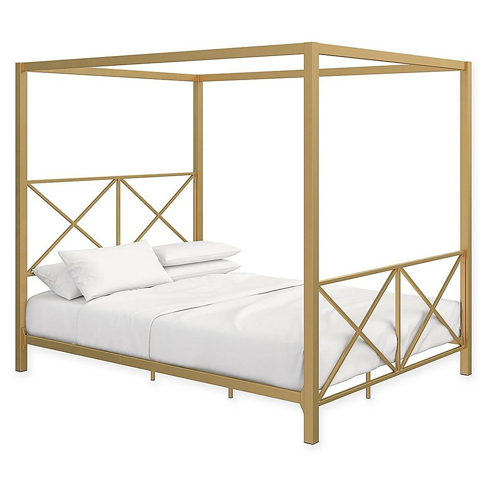 Everyroom Reese Full Canopy Bed In Gold In 2020 Canopy Bed Frame Metal Canopy Bed Furniture